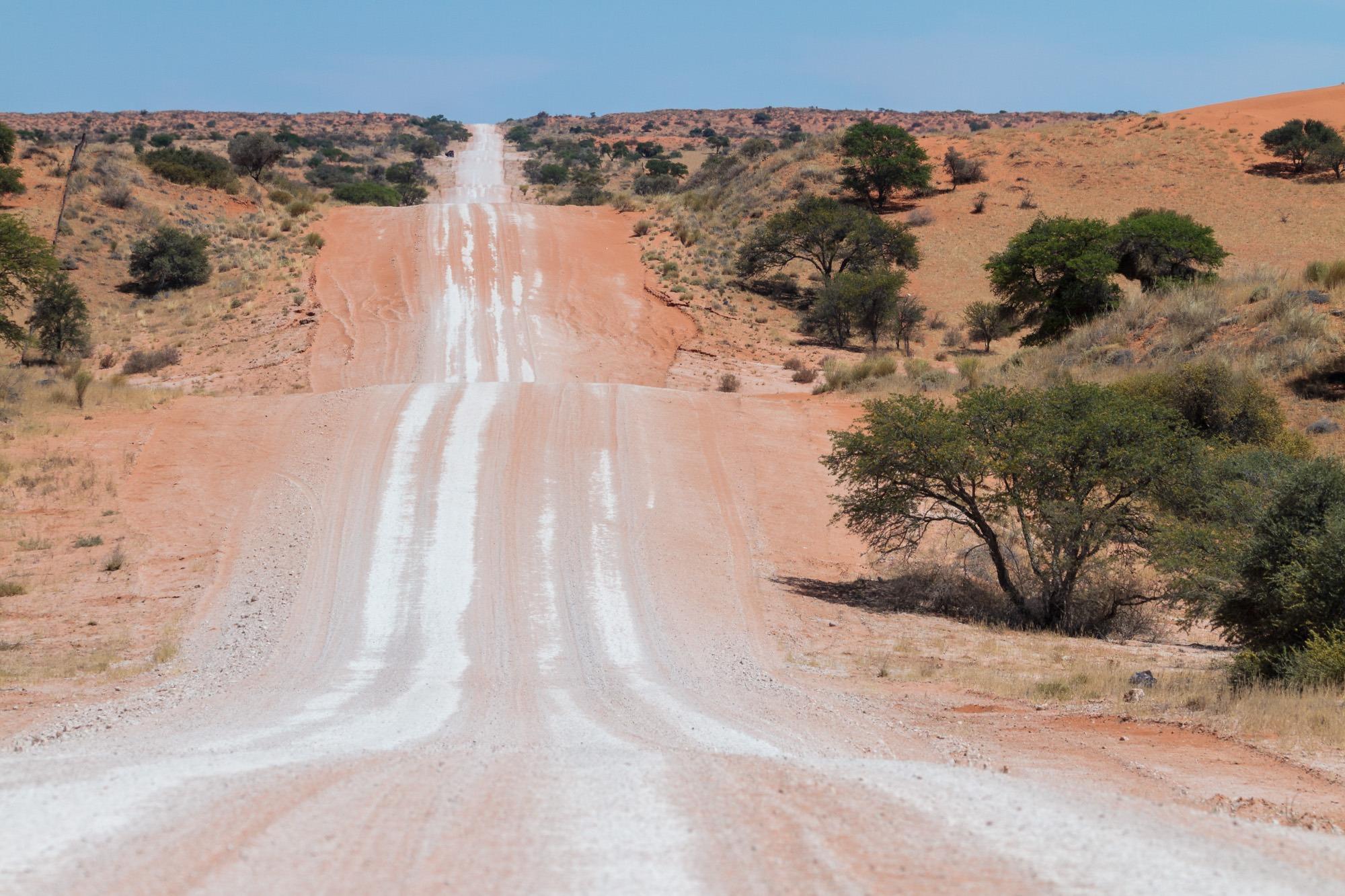 Lange gerade Strasse durch rote Sanddünen in der Kalahari in Namibia