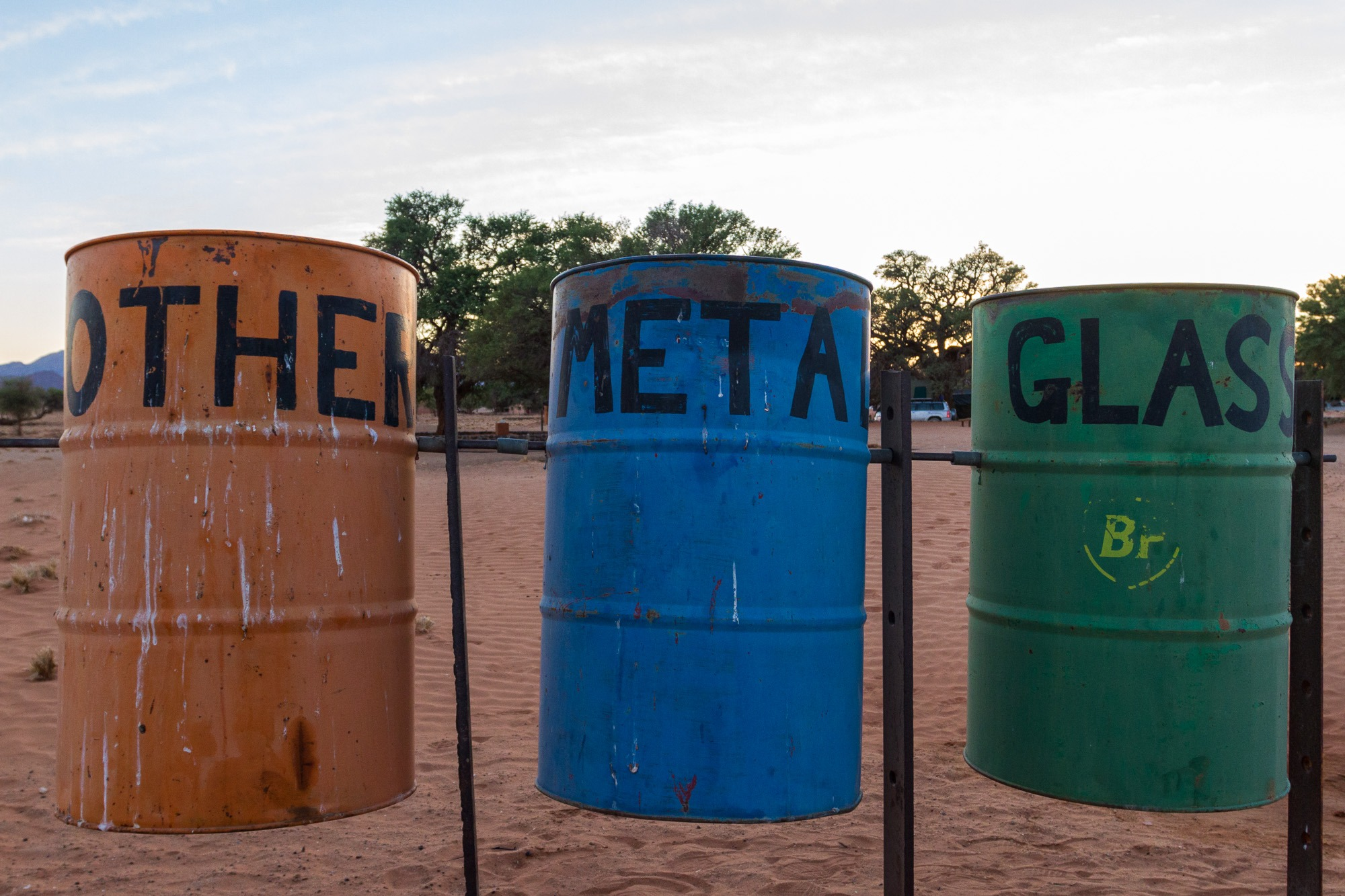 Recycling Mülltrennung Sesriem Rest Camp in Namibia