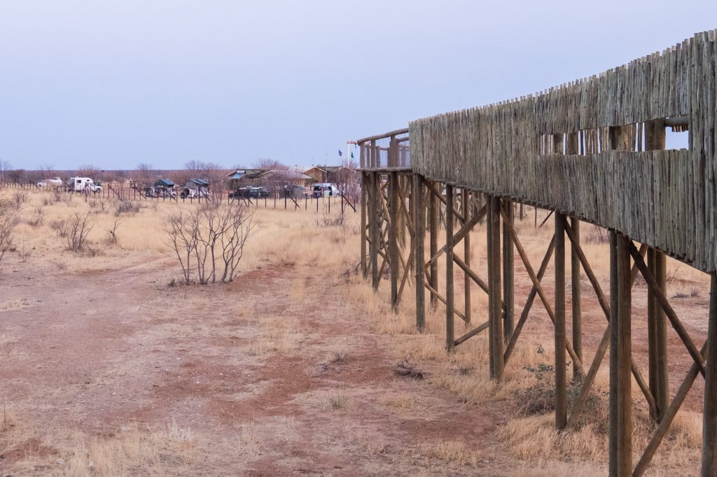 Zugang Wasserloch Olifantsrus Camp Etosha Nationalpark Namibia